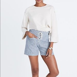 Madewell blue and white striped lace up shorts